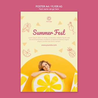 Poster template with summer party concept
