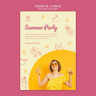 Poster template with summer party design