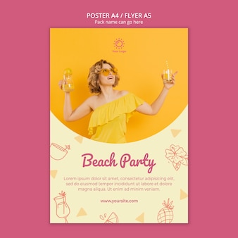 Poster template with summer party theme