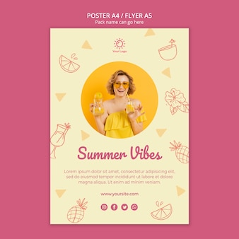 Poster template with summer party