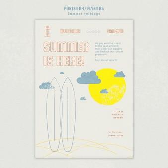 Шаблон постера с летними каникулами