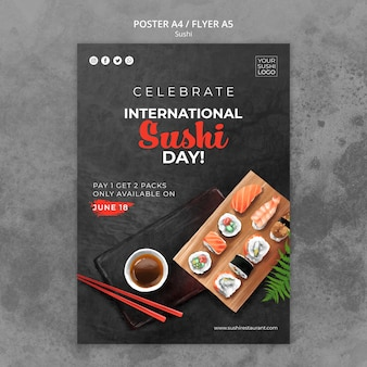 Poster template with sushi day theme