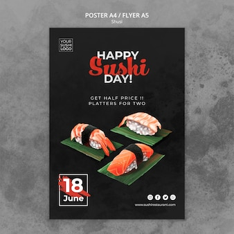 Poster template with sushi day