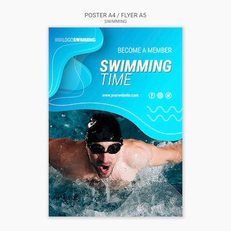 Poster template with swimming concept