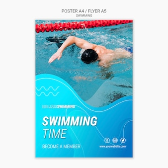 Poster template with swimming