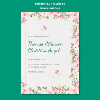 Poster template with wedding design