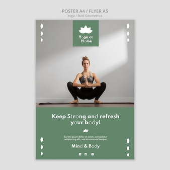 Poster template with woman practicing yoga