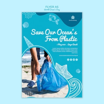 Poster template with world ocean day concept