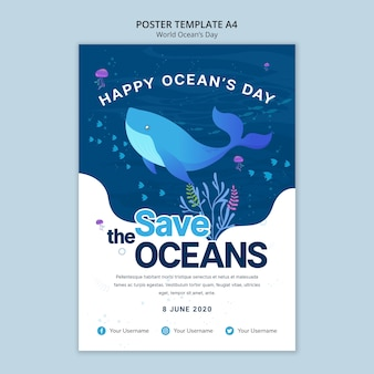 Poster template with world ocean day
