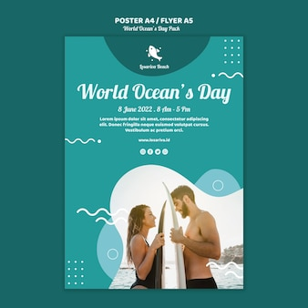 Шаблон плаката с всемирным днем океанов