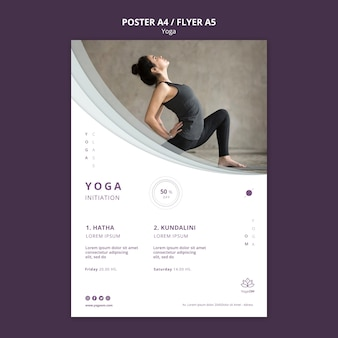 Poster template with yoga design