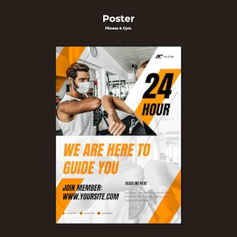 Poster template for working out at the gym during the pandemic
