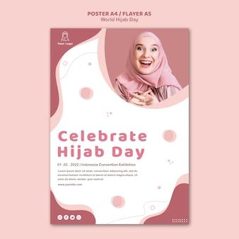 Modello di poster per la celebrazione della giornata mondiale dell'hijab