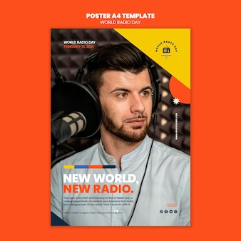 Modello di poster per la giornata mondiale della radio con emittente e microfono