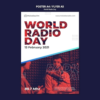 Poster template for world radio day with male broadcaster