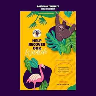 Modello di poster per la celebrazione della giornata mondiale della fauna selvatica