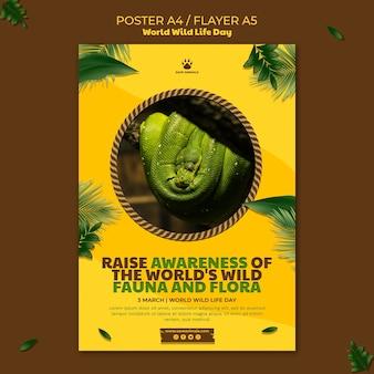 Modello di poster per la giornata mondiale della fauna selvatica con animali