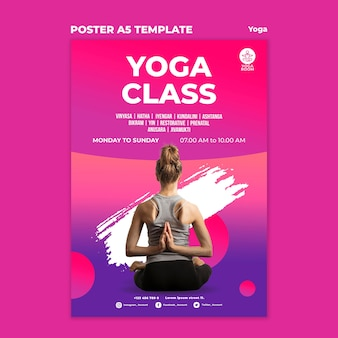 Poster template for yoga class with woman