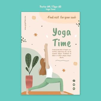 Modello di poster per l'ora dello yoga