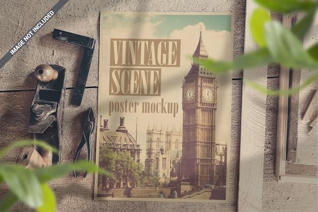Poster in vintage workshop top view scene mockup