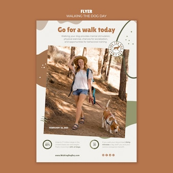 Poster walking the dog day template