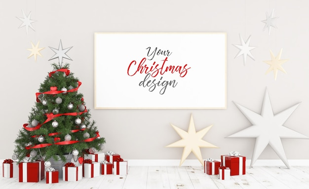 Poster on a wall with christmas decoration mockup