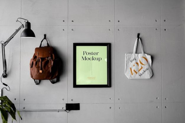 Poster with bag mockup