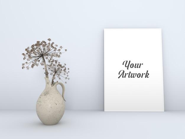 클래식 꽃병 프레임 모형이있는 포스터