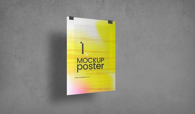 Poster with clips over concrete surface mockup