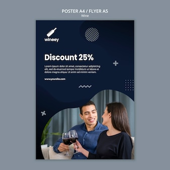 Poster with couple for winery with discount