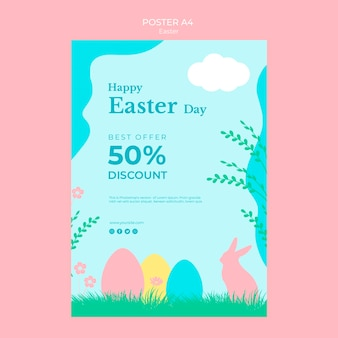 Poster with easter sale concept