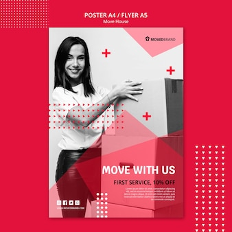 Poster con il concetto di casa mossa