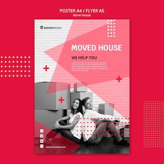 Poster con design di casa mossa