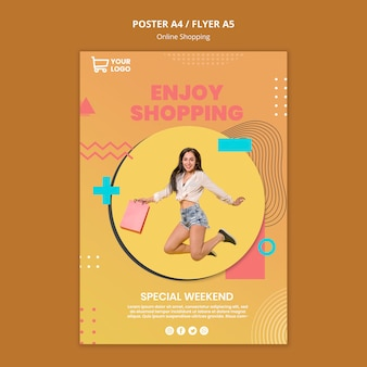 Poster with online shoppings template