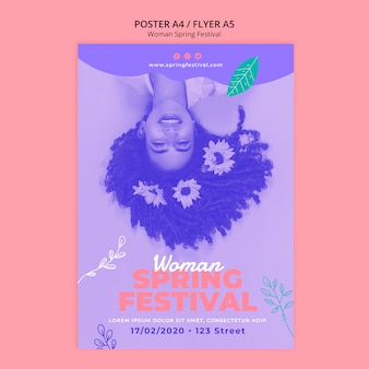Poster with woman spring festival theme
