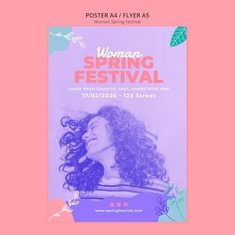 Poster with woman spring festival