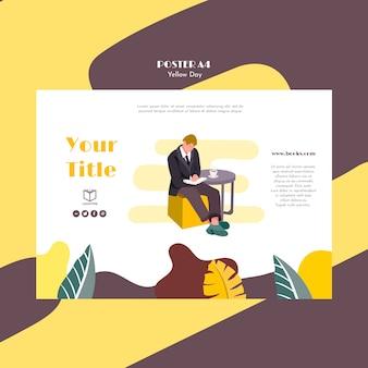 Плакат с желтой концепцией шаблона дня