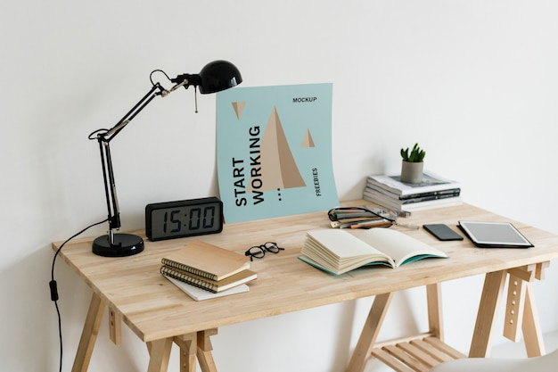 Poster on workspace mockup