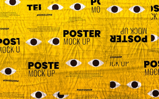 Poster wrinkled texture collage mockup realistic