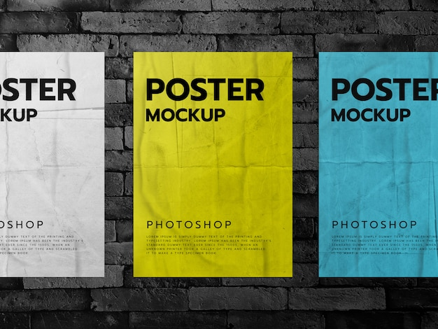 Posters on a brick wall background