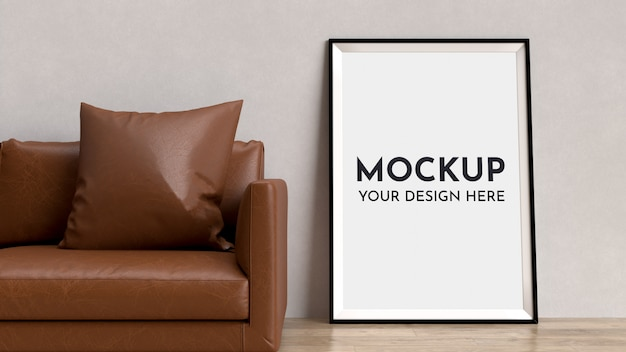 Posters, frame mock up in interior with sofa.