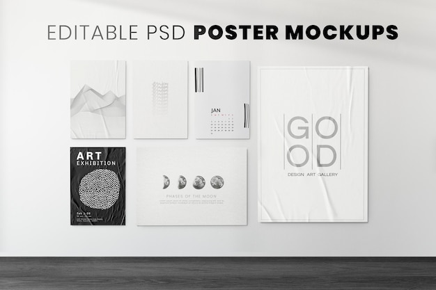 Posters mockup psd on a concrete wall