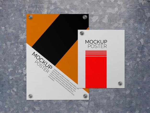 Poster su mockup di superficie in acciaio