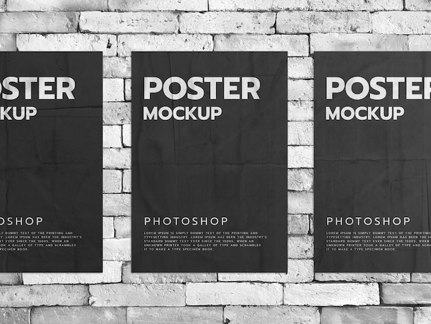 Posters on a white brick wall background