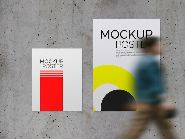 Posters with walking man on concrete surface mockup