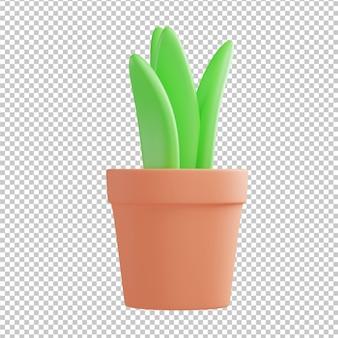 Pot plant 3d illustration