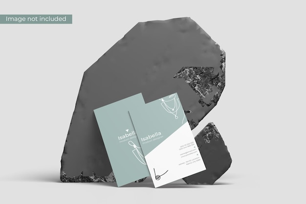 Potrait business card mockup with stone