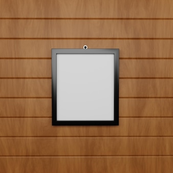 Potrait frame wood background mockup psd files