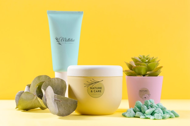 Potted plant with natural cosmetics