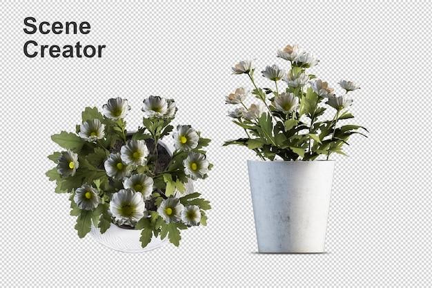 고립 된 3d 렌더링에 화분에 심은 식물 꽃